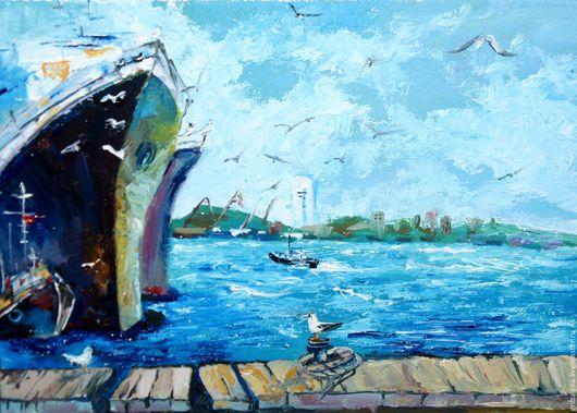 Пейзаж ручной работы. Ярмарка Мастеров - ручная работа. Купить Картина порт море корабль Чайки в порту 18 на 24 см в наличии. Handmade.