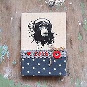 "Канцелярские товары ручной работы. Ярмарка Мастеров - ручная работа Блокнот ""Monkey"". Handmade."