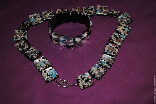Колье, бусы ручной работы. Ярмарка Мастеров - ручная работа. Купить Ожерелье из муранского стекла. Handmade. Ожерелье, черный, браслет