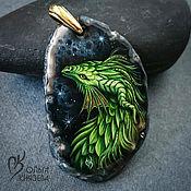 """Украшения ручной работы. Ярмарка Мастеров - ручная работа Кулон """"Дракон"""" - миниатюрная живопись на камне. Handmade."""