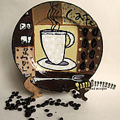 Посуда handmade. Livemaster - original item Decorative plate MORNING COFFEE. Handmade.