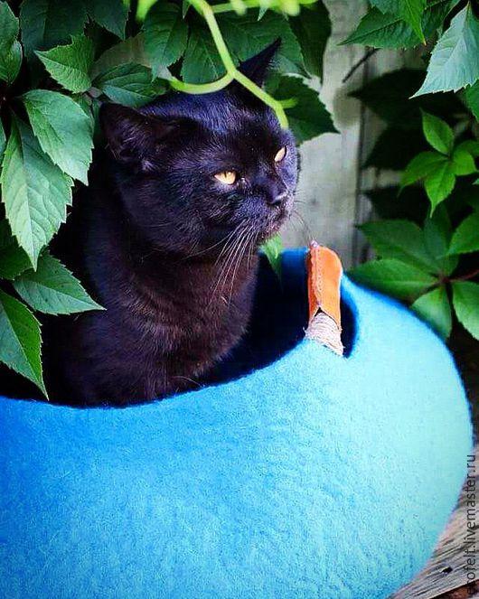 Аксессуары для кошек, ручной работы. Ярмарка Мастеров - ручная работа. Купить Домик для кота или маленькой собачки - голубая лагуна. Handmade.