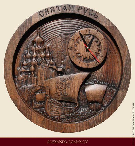 """Часы для дома ручной работы. Ярмарка Мастеров - ручная работа. Купить Настенные, интерьерные, деревянные часы """"Святая Русь"""". Handmade."""