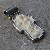 handmade. Livemaster - original item The cross of the Archangel Michael, mammoth ivory, silver and brass. Handmade.