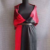 Аксессуары ручной работы. Ярмарка Мастеров - ручная работа большой вязаный шарф-палантин Красное и черное. Handmade.