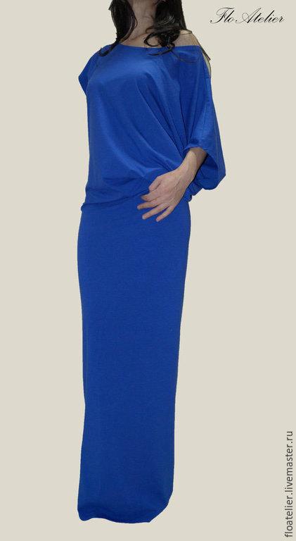 Платья ручной работы. Ярмарка Мастеров - ручная работа. Купить Ассиметричнoe летнее платье/Кафтан/F1022. Handmade. Тёмно-синий, платье в пол