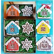 Сувениры и подарки handmade. Livemaster - original item Mini Christmas gingerbread House and snowflake. Handmade.