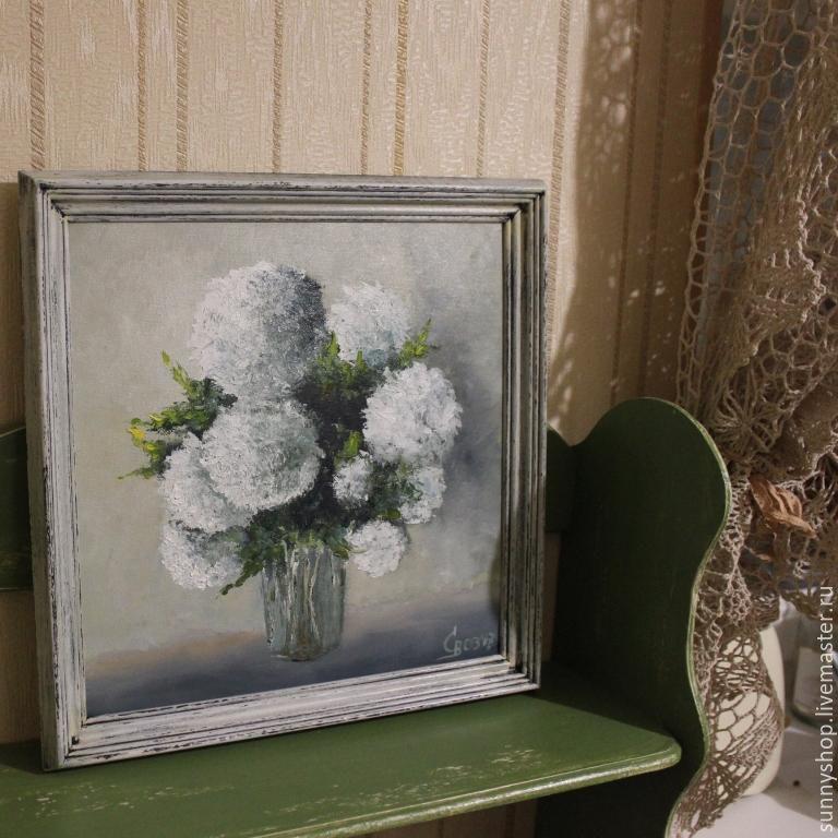 """Картина маслом """"Букет белых цветов"""" в раме (прованс), Картины, Москва, Фото №1"""