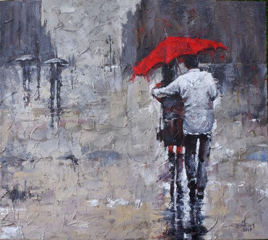 Копия картины Андре Кона. Парочка под красным зонтом.