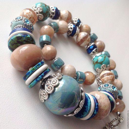 Колье бусы ожерелье чокер голубое из Агата бирюзы купить в подарок девушке женщине любимой подруге украшение на шею из натуральных камней