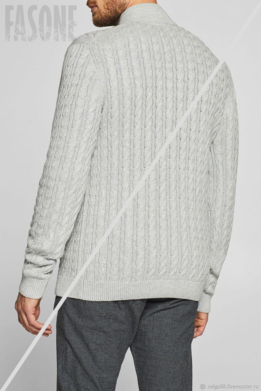 3b5d261aadc Мужской свитер серый с косами и молнией свитер мужской – купить в ...