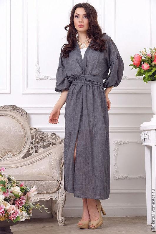 """Платья ручной работы. Ярмарка Мастеров - ручная работа. Купить Платье """"Накидка"""". Handmade. Темно-серый, длинное платье-рубаха"""