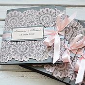 Свадебный салон handmade. Livemaster - original item Invitation with lace in peach lace. Handmade.