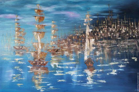 Пейзаж ручной работы. Ярмарка Мастеров - ручная работа. Купить Порт. Handmade. Комбинированный, море, морская тема, корабли, парусник