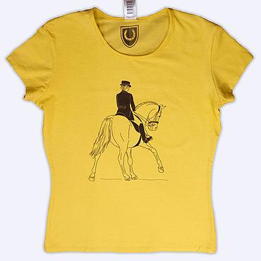 Одежда ручной работы. Ярмарка Мастеров - ручная работа Желтая футболка выездка. Handmade.