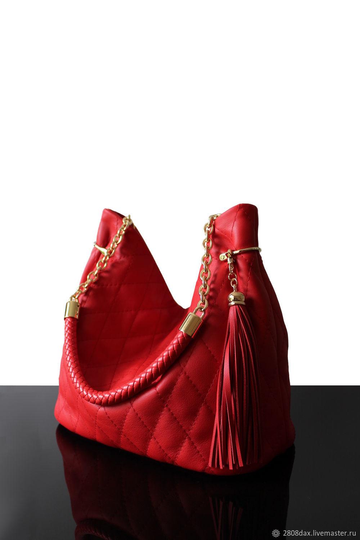 """Granville Красный"" красная кожаная сумка, Classic Bag, Bordeaux,  Фото №1"