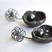 "Украшения handmade. Livemaster - original item Porcelain earrings ""Black armyur"" with cotton pearl. Handmade."