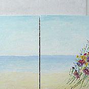Диптих большая картина маслом 240х120 см разноцветными цветами купить