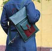 handmade. Livemaster - original item Backpack made of leather and suede Emerald city of Bordeaux. Handmade.