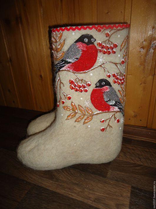 """Обувь ручной работы. Ярмарка Мастеров - ручная работа. Купить Валенки женские """"Снегири 2-2"""". Handmade. Белый"""