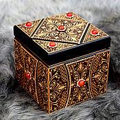 handmade. Livemaster - original item Wooden cube box with amber. Handmade.