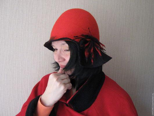 """Шляпы ручной работы. Ярмарка Мастеров - ручная работа. Купить Шляпка из шерсти """"???"""". Handmade. Ярко-красный, шляпка"""