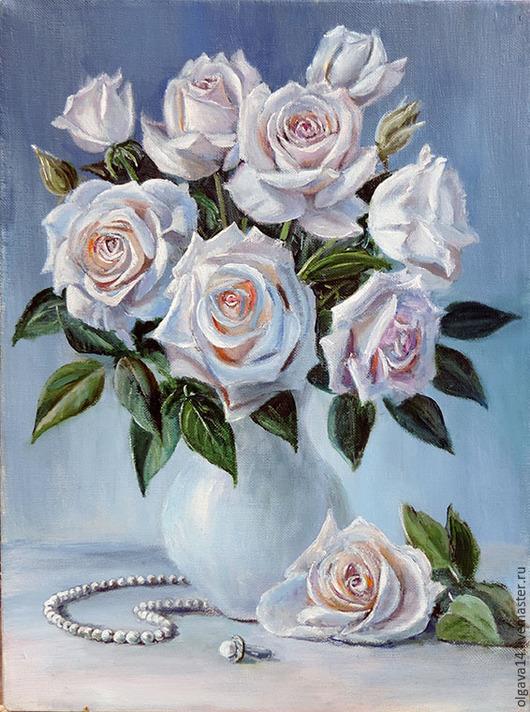Натюрморт ручной работы. Ярмарка Мастеров - ручная работа. Купить Белые розы. Handmade. Разноцветный, розы, букет цветов