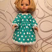"""Одежда для кукол ручной работы. Ярмарка Мастеров - ручная работа Одежда для кукол Paola Reina """"Платье бирюза  в горох""""-заказз. Handmade."""