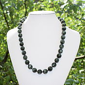 Работы для детей, handmade. Livemaster - original item Silver 925pr.Beads natural stone seraphinit (the clinochlore). Handmade.