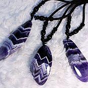 Материалы для творчества handmade. Livemaster - original item Chevron amethyst large, rich (pendant) Namibia.. Handmade.