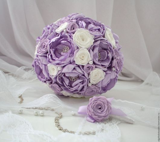 """Свадебные цветы ручной работы. Ярмарка Мастеров - ручная работа. Купить Свадебный брошь букет невесты """"Лиловый""""  Сиреневый брошь букет. Handmade."""
