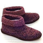 Обувь ручной работы. Ярмарка Мастеров - ручная работа Тапочки-ботики унисекс  Пурпур, полушерсть, р 42. Handmade.