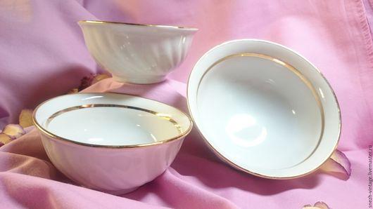 Винтажная посуда. Ярмарка Мастеров - ручная работа. Купить Винтажный набор посуды из 3-х предметов. Handmade. Белый, фарфор