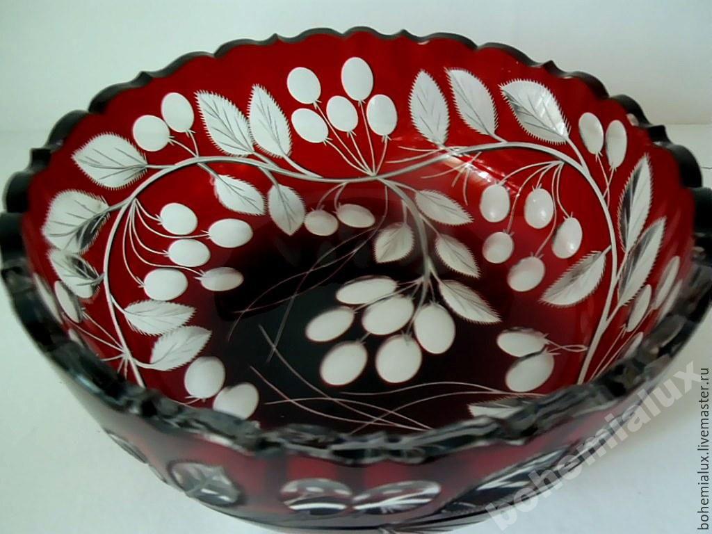 Vase bowl red double layer glass Meyrs Neffe, Vintage sets, Prague,  Фото №1