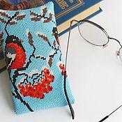 Сумки и аксессуары handmade. Livemaster - original item Bullfinch Eyeglass Case Eyeglass Case Phone Case. Handmade.