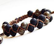 handmade. Livemaster - original item A bracelet made of lava and pyrite. Handmade.