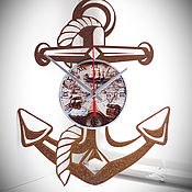 "Для дома и интерьера handmade. Livemaster - original item Wall clock ""anchor"". Handmade."