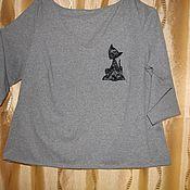 Одежда ручной работы. Ярмарка Мастеров - ручная работа трикотажный джемпер с вышивкой. Handmade.