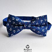 Аксессуары handmade. Livemaster - original item Tie Frigate / blue butterfly tie with anchors and dots. Handmade.