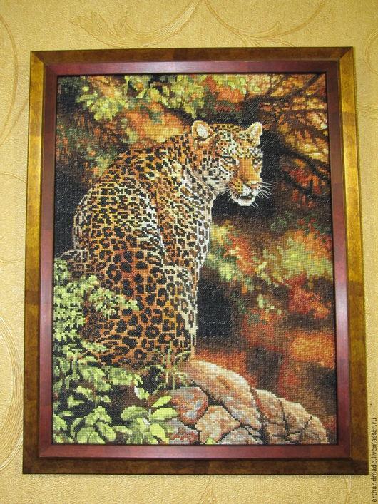 """Животные ручной работы. Ярмарка Мастеров - ручная работа. Купить Вышитая картина, вышивка """"Леопард"""". Handmade. Комбинированный, вышивка ручная"""
