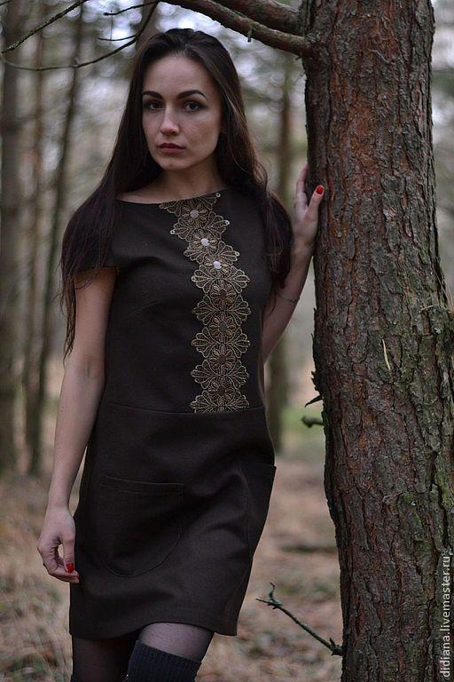 Платья ручной работы. Ярмарка Мастеров - ручная работа. Купить Маленькое шерстяное платье. Handmade. Коричневый, ретро стиль, шерсть