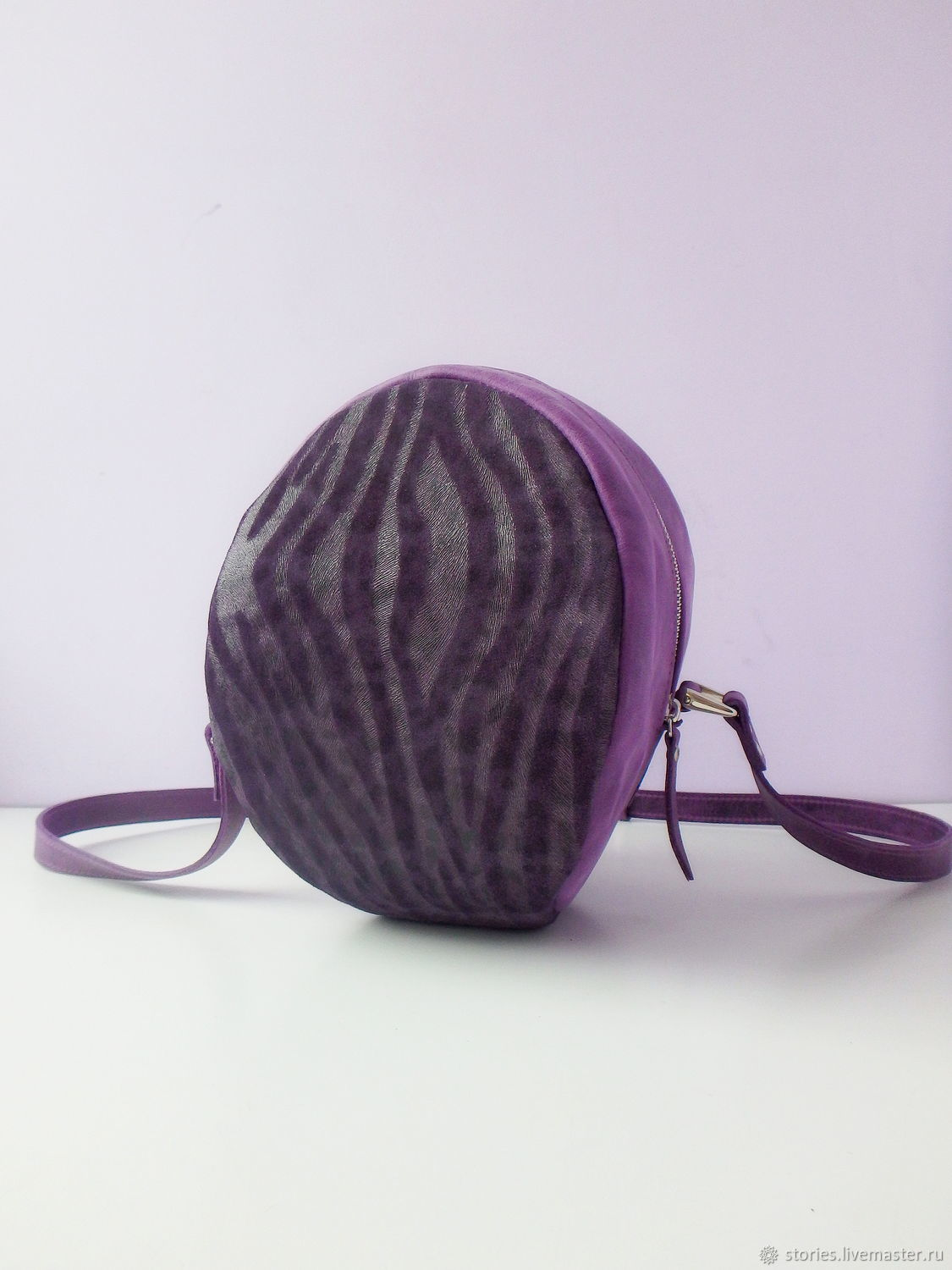 Leather bag in Violet Ball, Classic Bag, Dubna,  Фото №1