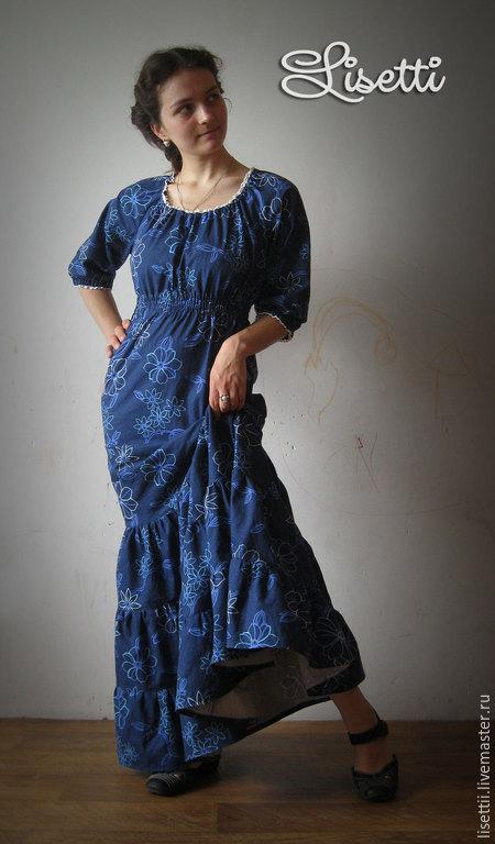 Платья ручной работы. Ярмарка Мастеров - ручная работа. Купить Длинное платье Ноты модерна. Handmade. Тёмно-синий