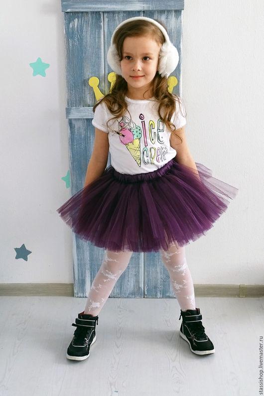 Одежда для девочек, ручной работы. Ярмарка Мастеров - ручная работа. Купить Детская пышная юбка ТУТУ цвета Слива, темно-фиолетовая. Handmade.