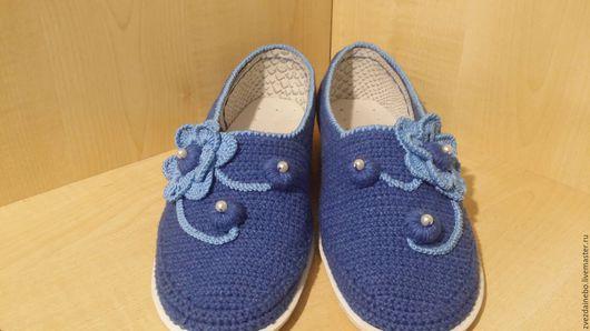 """Обувь ручной работы. Ярмарка Мастеров - ручная работа. Купить Слиперы """"Бусинка"""". Handmade. Синий, Балетки на заказ, слиперы вязаные"""