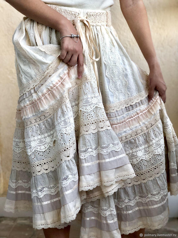 Skirt of sewing and lace in boho style 'Carolina. Cream', Skirts, Tashkent, Фото №1