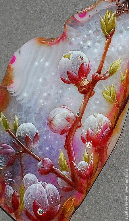 Кулоны, подвески ручной работы. Ярмарка Мастеров - ручная работа. Купить Розовый Цвет.... Handmade. Розовый, живопись на камне