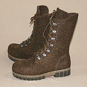Обувь ручной работы handmade. Livemaster - original item Brown boots-2 women`s felted boots. Handmade.
