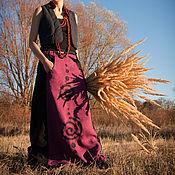Одежда handmade. Livemaster - original item Long Linen Skirt with Applique «Spirals». Handmade.