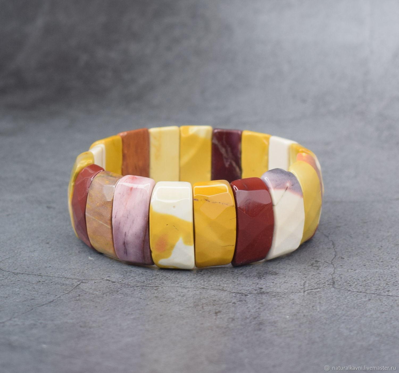 Large bracelet genuine Jasper of mukat cut, Bead bracelet, Moscow,  Фото №1